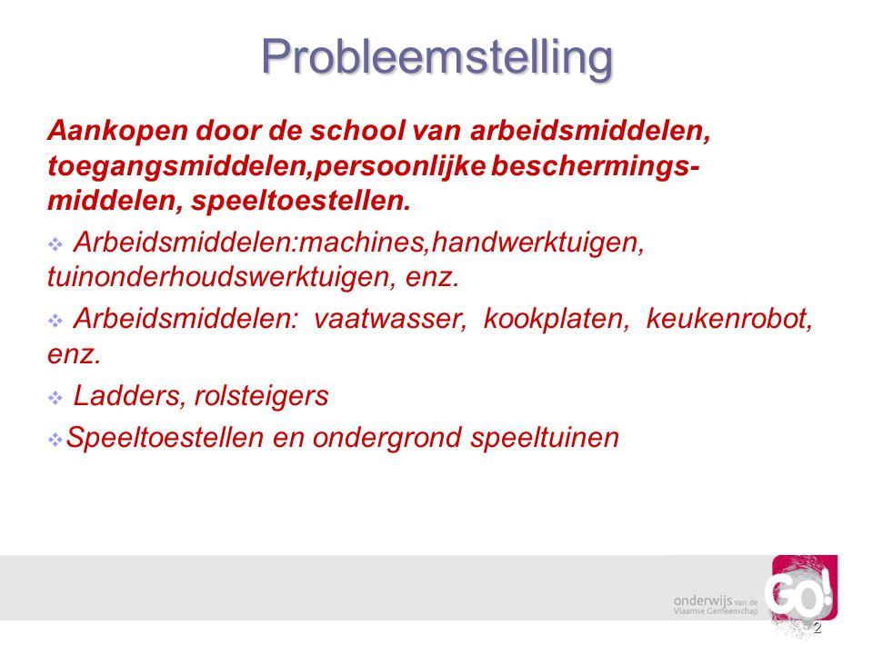 2Probleemstelling Aankopen door de school van arbeidsmiddelen, toegangsmiddelen,persoonlijke beschermings- middelen, speeltoestellen.   Arbeidsmidde
