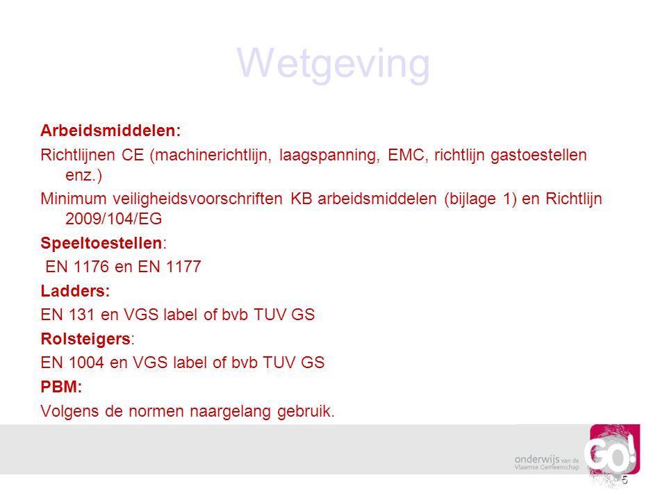 Wetgeving Arbeidsmiddelen: Richtlijnen CE (machinerichtlijn, laagspanning, EMC, richtlijn gastoestellen enz.) Minimum veiligheidsvoorschriften KB arbe