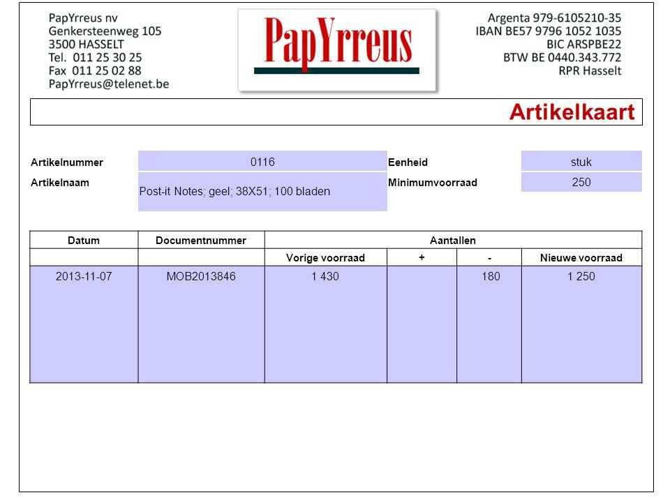 Artikelkaart Artikelnummer 0116 Eenheid stuk Artikelnaam Post-it Notes; geel; 38X51; 100 bladen Minimumvoorraad 250 DatumDocumentnummerAantallen Vorige voorraad+-Nieuwe voorraad 2013-11-07MOB20138461 430 1801 250