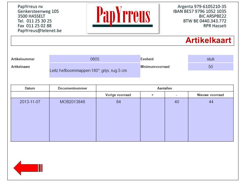 Artikelkaart Artikelnummer 0605 Eenheid stuk Artikelnaam Leitz hefboommappen 180°; grijs; rug 5 cm Minimumvoorraad 50 DatumDocumentnummerAantallen Vorige voorraad+-Nieuwe voorraad 2013-11-07MOB2013846 84 40 44