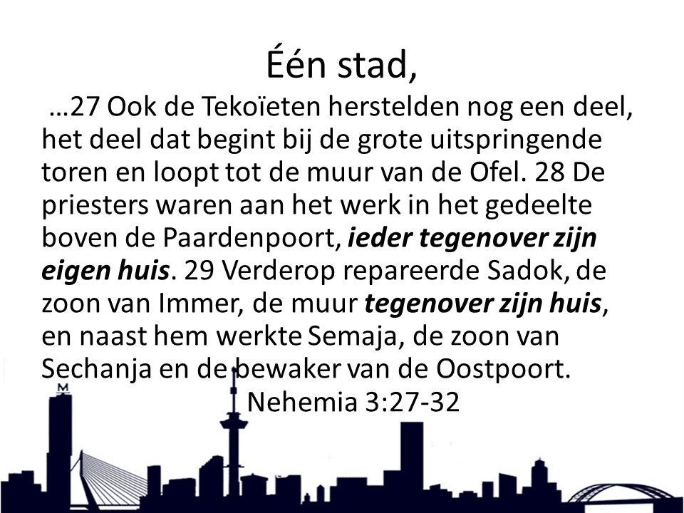 Één stad, …27 Ook de Tekoïeten herstelden nog een deel, het deel dat begint bij de grote uitspringende toren en loopt tot de muur van de Ofel.