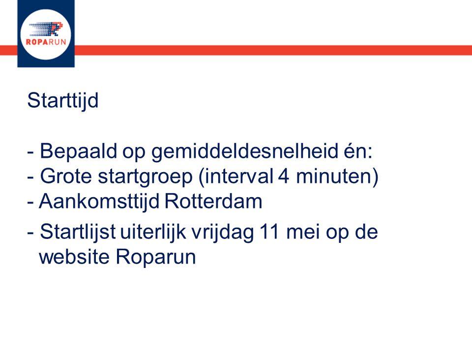 - Startlijst uiterlijk vrijdag 11 mei op de website Roparun