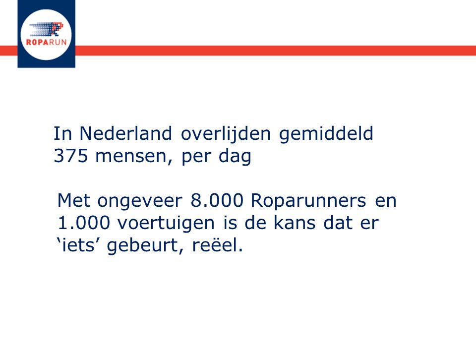 In Nederland overlijden gemiddeld 375 mensen, per dag Met ongeveer 8.000 Roparunners en 1.000 voertuigen is de kans dat er 'iets' gebeurt, reëel.