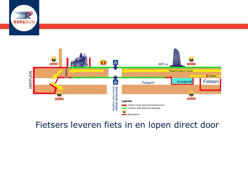 Fietsers leveren fiets in en lopen direct door