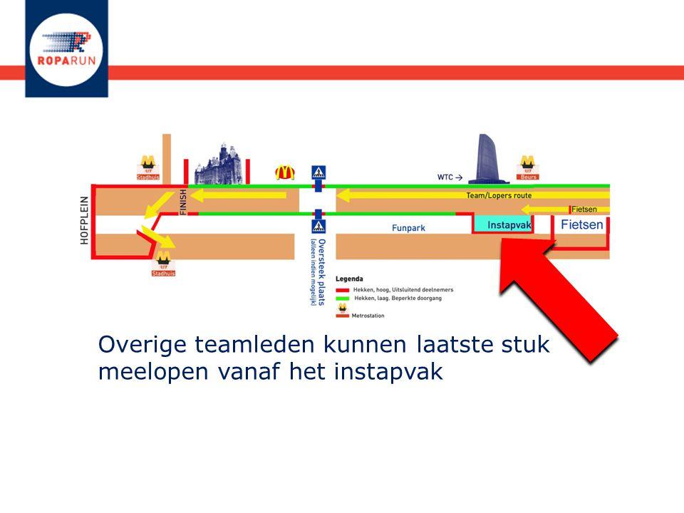 Overige teamleden kunnen laatste stuk meelopen vanaf het instapvak. Met de Metro? Station Beurs!