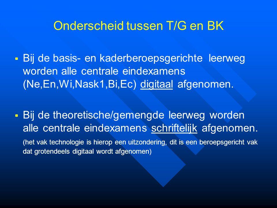  Bij de basis- en kaderberoepsgerichte leerweg worden alle centrale eindexamens (Ne,En,Wi,Nask1,Bi,Ec) digitaal afgenomen.  Bij de theoretische/geme