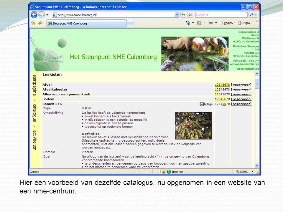 Hier een voorbeeld van dezelfde catalogus, nu opgenomen in een website van een nme-centrum.