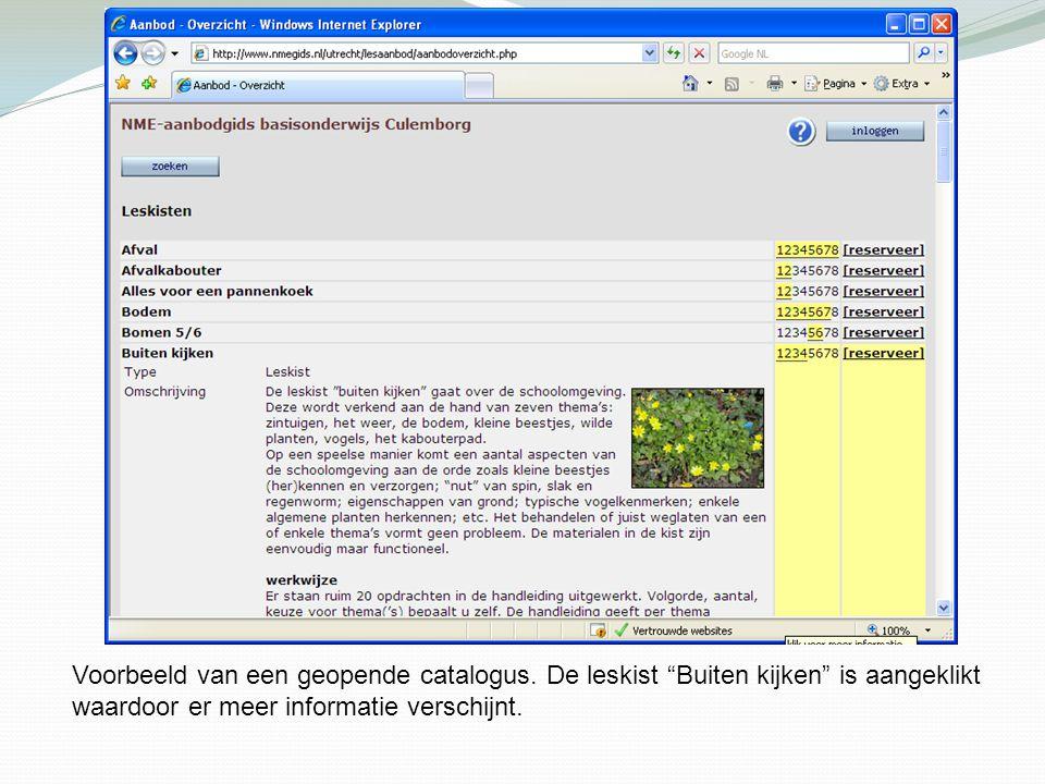 """Voorbeeld van een geopende catalogus. De leskist """"Buiten kijken"""" is aangeklikt waardoor er meer informatie verschijnt."""