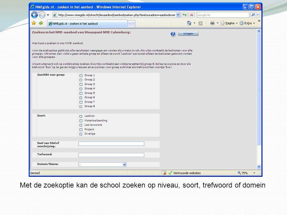 Met de zoekoptie kan de school zoeken op niveau, soort, trefwoord of domein