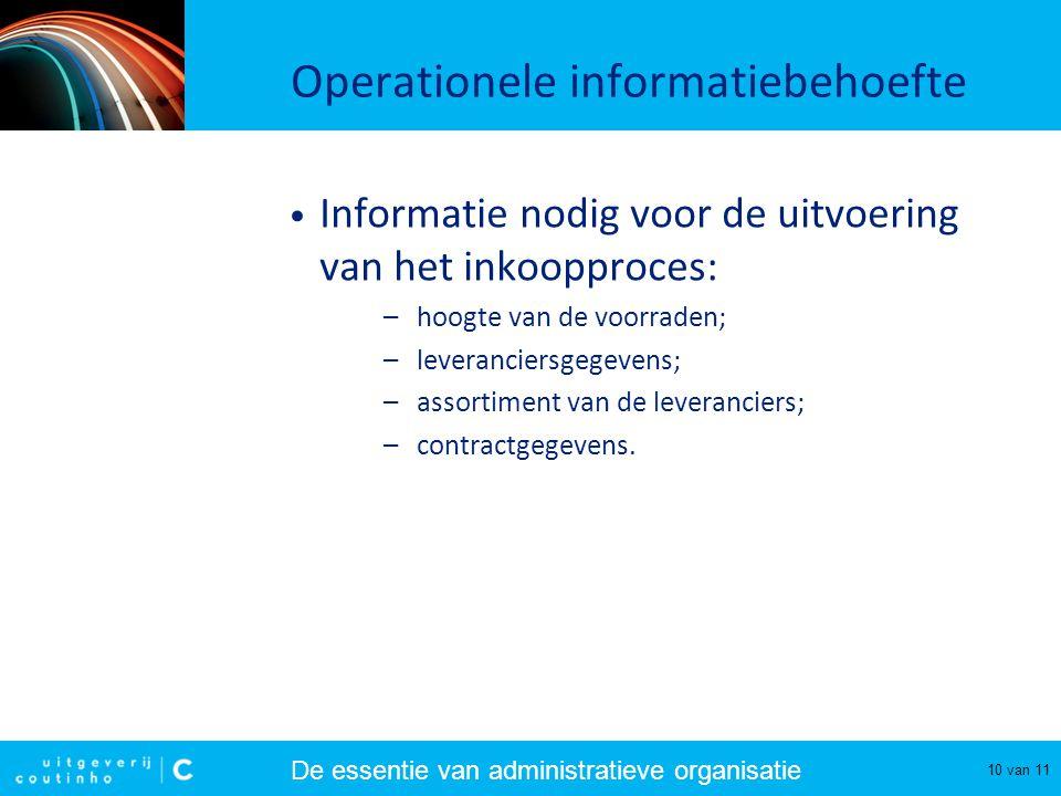De essentie van administratieve organisatie 10 van 11 Operationele informatiebehoefte Informatie nodig voor de uitvoering van het inkoopproces: –hoogt