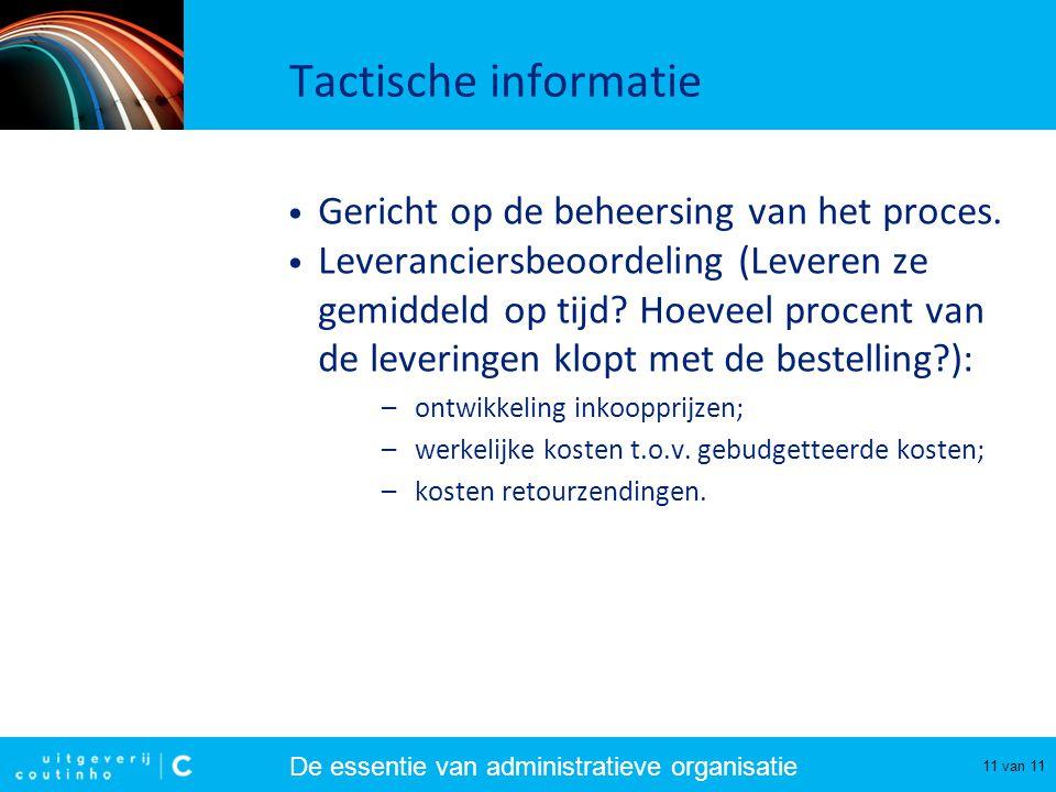 De essentie van administratieve organisatie 11 van 11 Tactische informatie Gericht op de beheersing van het proces. Leveranciersbeoordeling (Leveren z