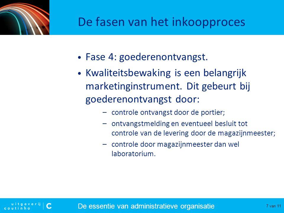 De essentie van administratieve organisatie 7 van 11 De fasen van het inkoopproces Fase 4: goederenontvangst. Kwaliteitsbewaking is een belangrijk mar