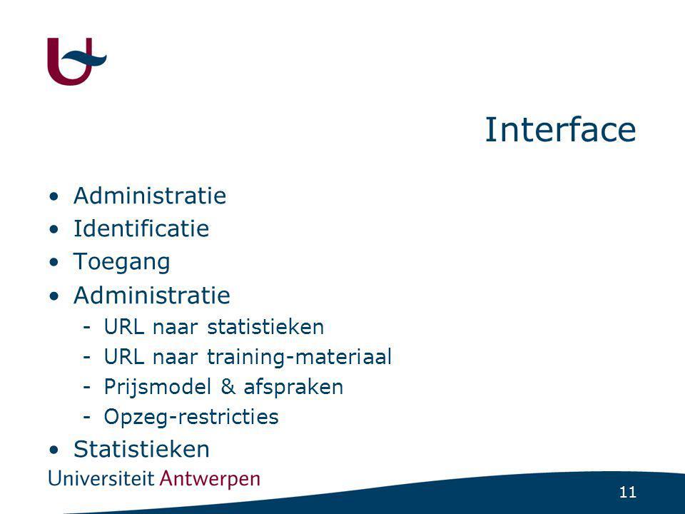 11 Interface Administratie Identificatie Toegang Administratie -URL naar statistieken -URL naar training-materiaal -Prijsmodel & afspraken -Opzeg-restricties Statistieken