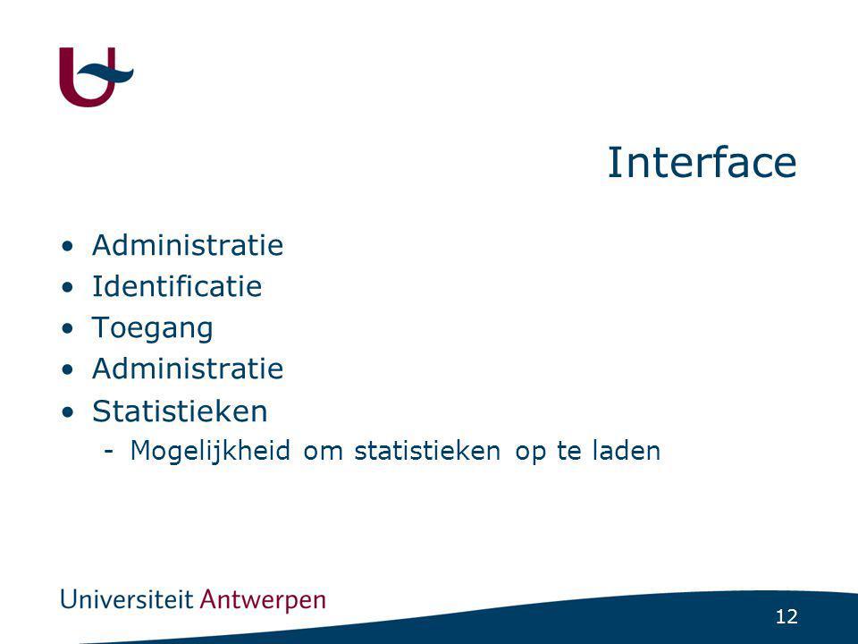 12 Interface Administratie Identificatie Toegang Administratie Statistieken -Mogelijkheid om statistieken op te laden