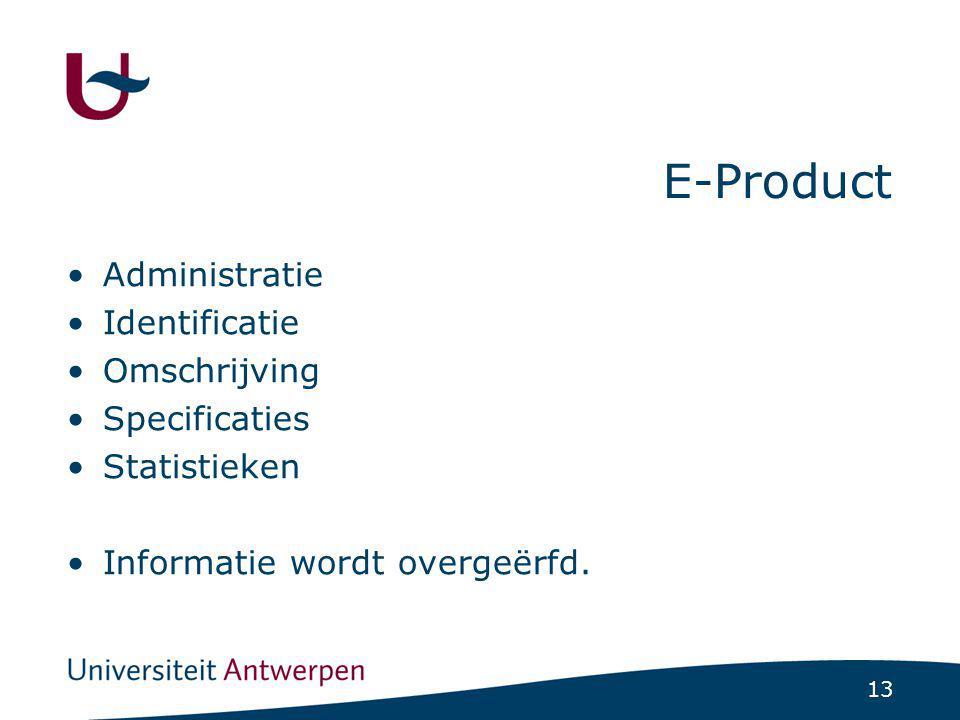 13 E-Product Administratie Identificatie Omschrijving Specificaties Statistieken Informatie wordt overgeërfd.