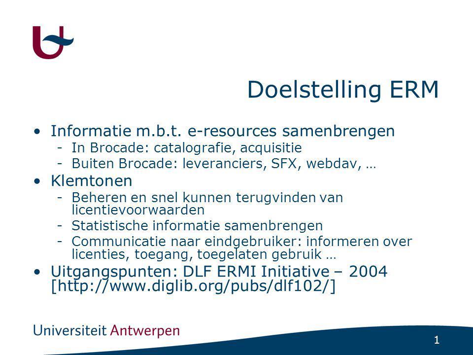 1 Doelstelling ERM Informatie m.b.t.