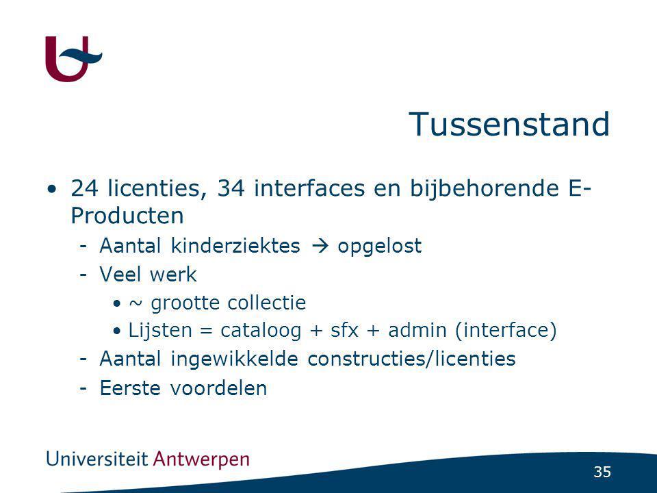 35 Tussenstand 24 licenties, 34 interfaces en bijbehorende E- Producten -Aantal kinderziektes  opgelost -Veel werk ~ grootte collectie Lijsten = cataloog + sfx + admin (interface) -Aantal ingewikkelde constructies/licenties -Eerste voordelen