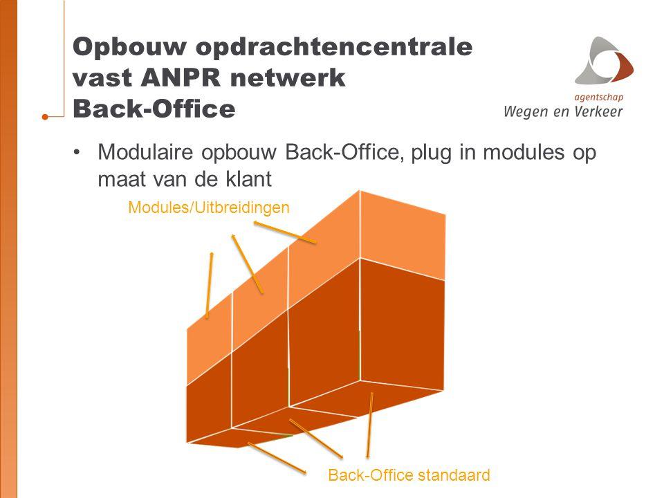 Opbouw opdrachtencentrale vast ANPR netwerk Back-Office Modulaire opbouw Back-Office, plug in modules op maat van de klant Modules/Uitbreidingen Back-