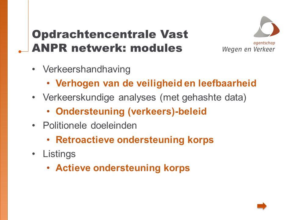 Opdrachtencentrale Vast ANPR netwerk: modules Verkeershandhaving Verhogen van de veiligheid en leefbaarheid Verkeerskundige analyses (met gehashte dat
