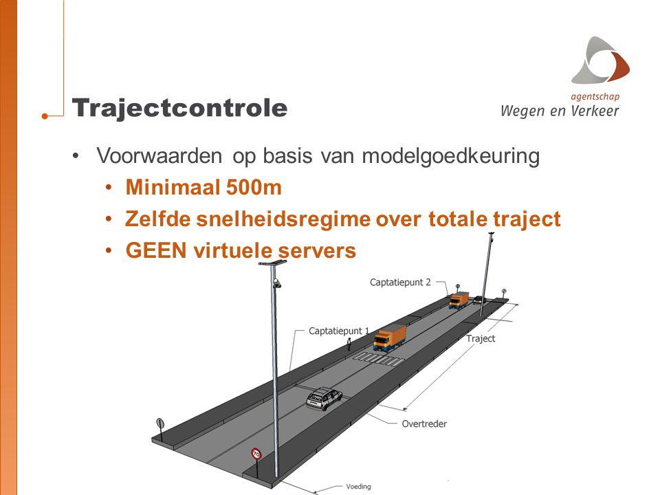 Trajectcontrole Voorwaarden op basis van modelgoedkeuring Minimaal 500m Zelfde snelheidsregime over totale traject GEEN virtuele servers