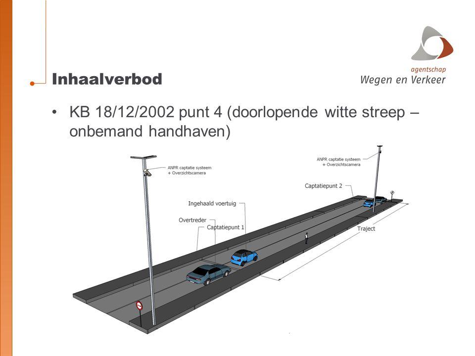 Inhaalverbod KB 18/12/2002 punt 4 (doorlopende witte streep – onbemand handhaven)