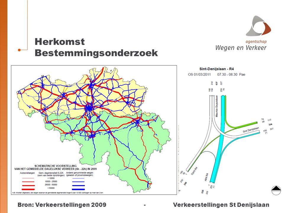 Bron: Verkeerstellingen 2009 - Verkeerstellingen St Denijslaan Herkomst Bestemmingsonderzoek