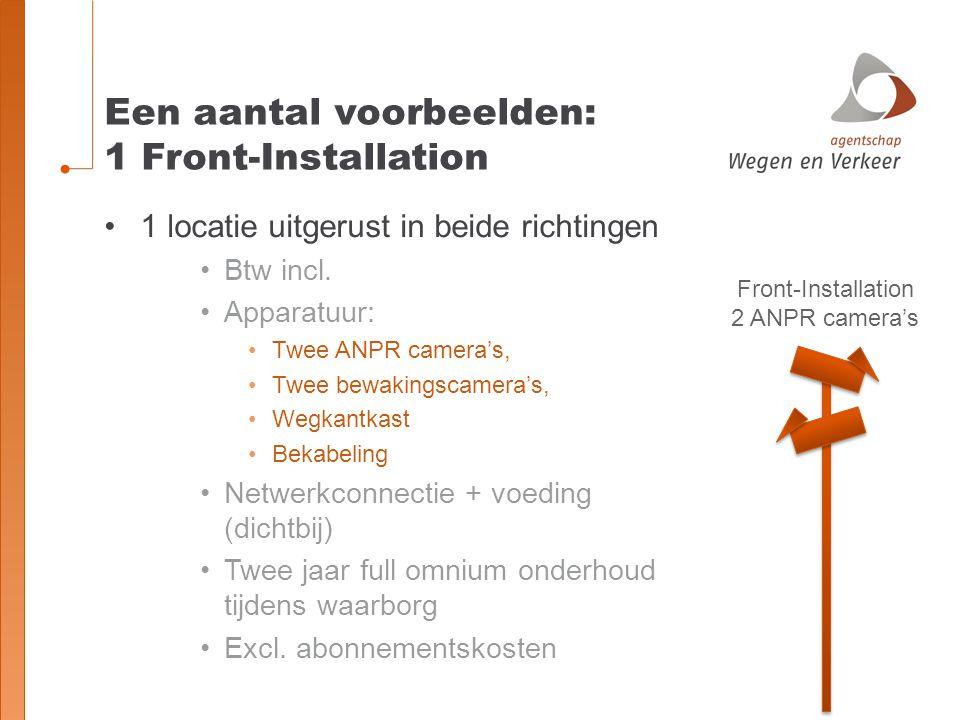 Een aantal voorbeelden: 1 Front-Installation Front-Installation 2 ANPR camera's 1 locatie uitgerust in beide richtingen Btw incl. Apparatuur: Twee ANP