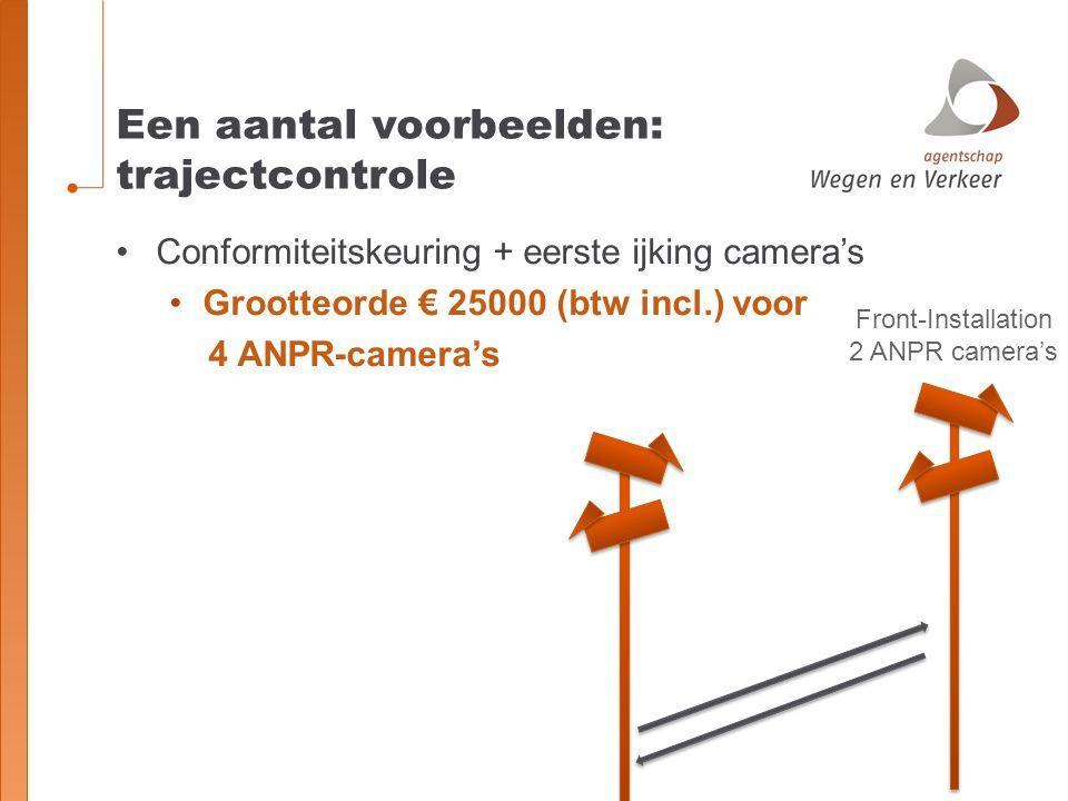 Een aantal voorbeelden: trajectcontrole Front-Installation 2 ANPR camera's Conformiteitskeuring + eerste ijking camera's Grootteorde € 25000 (btw incl