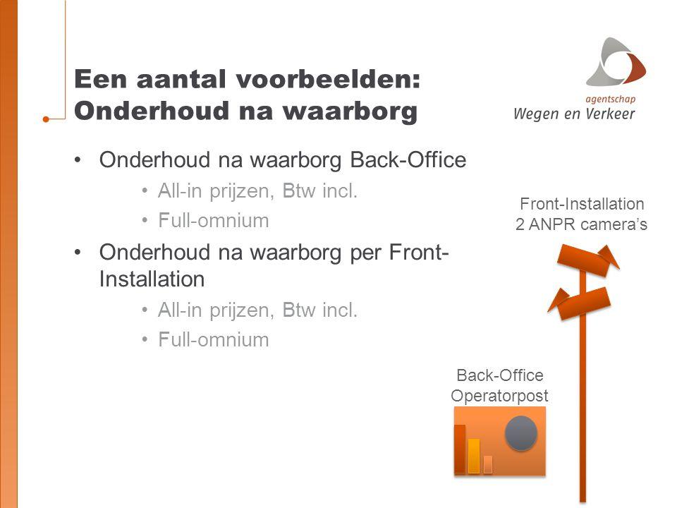 Een aantal voorbeelden: Onderhoud na waarborg Front-Installation 2 ANPR camera's Onderhoud na waarborg Back-Office All-in prijzen, Btw incl. Full-omni