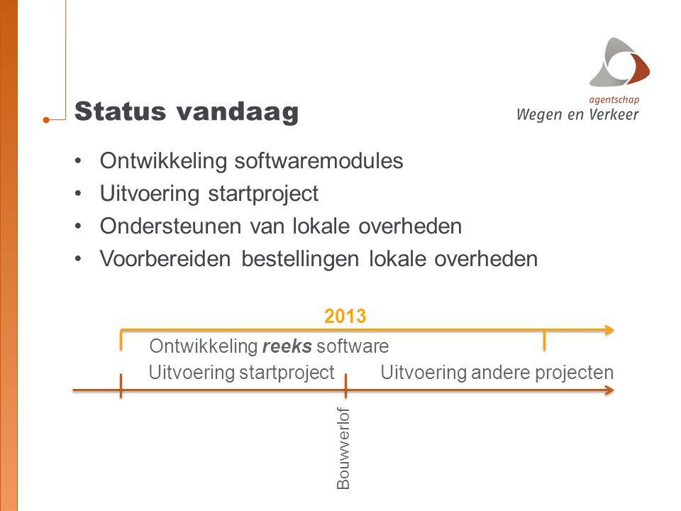 Status vandaag Ontwikkeling softwaremodules Uitvoering startproject Ondersteunen van lokale overheden Voorbereiden bestellingen lokale overheden Bouwv