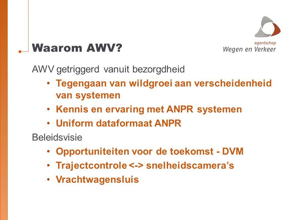Waarom AWV? AWV getriggerd vanuit bezorgdheid Tegengaan van wildgroei aan verscheidenheid van systemen Kennis en ervaring met ANPR systemen Uniform da