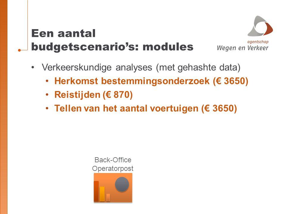 Verkeerskundige analyses (met gehashte data) Herkomst bestemmingsonderzoek (€ 3650) Reistijden (€ 870) Tellen van het aantal voertuigen (€ 3650) Een a