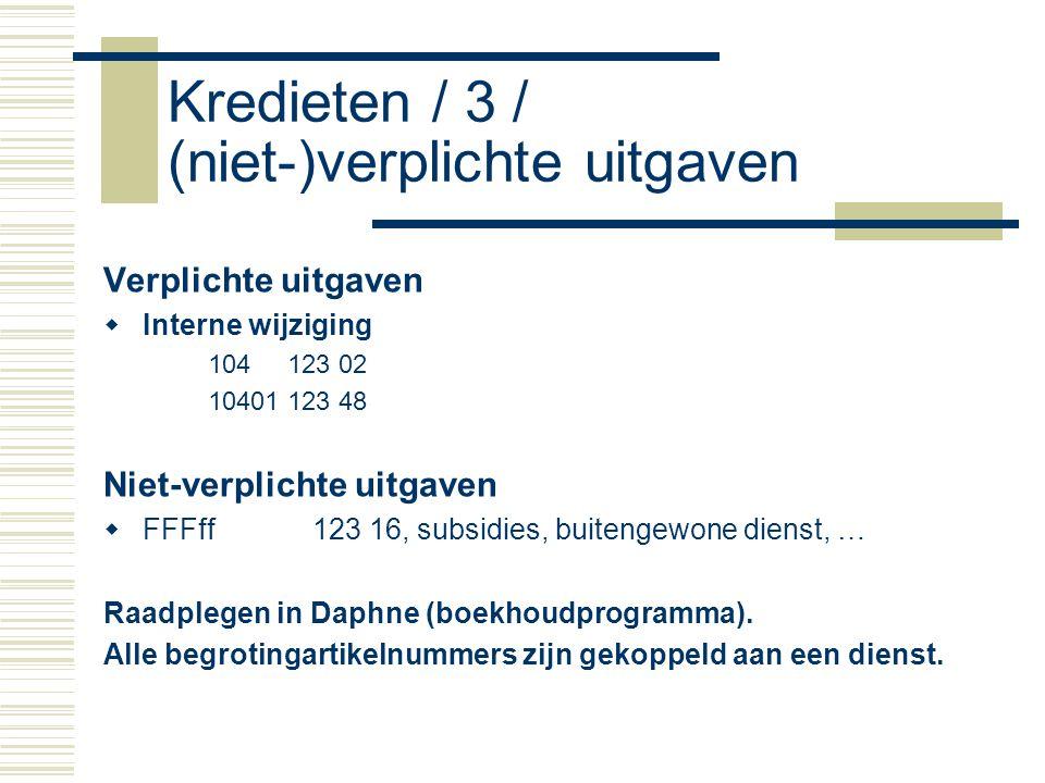 Kredieten / 3 / (niet-)verplichte uitgaven Verplichte uitgaven  Interne wijziging 104 123 02 10401 123 48 Niet-verplichte uitgaven  FFFff123 16, subsidies, buitengewone dienst, … Raadplegen in Daphne (boekhoudprogramma).