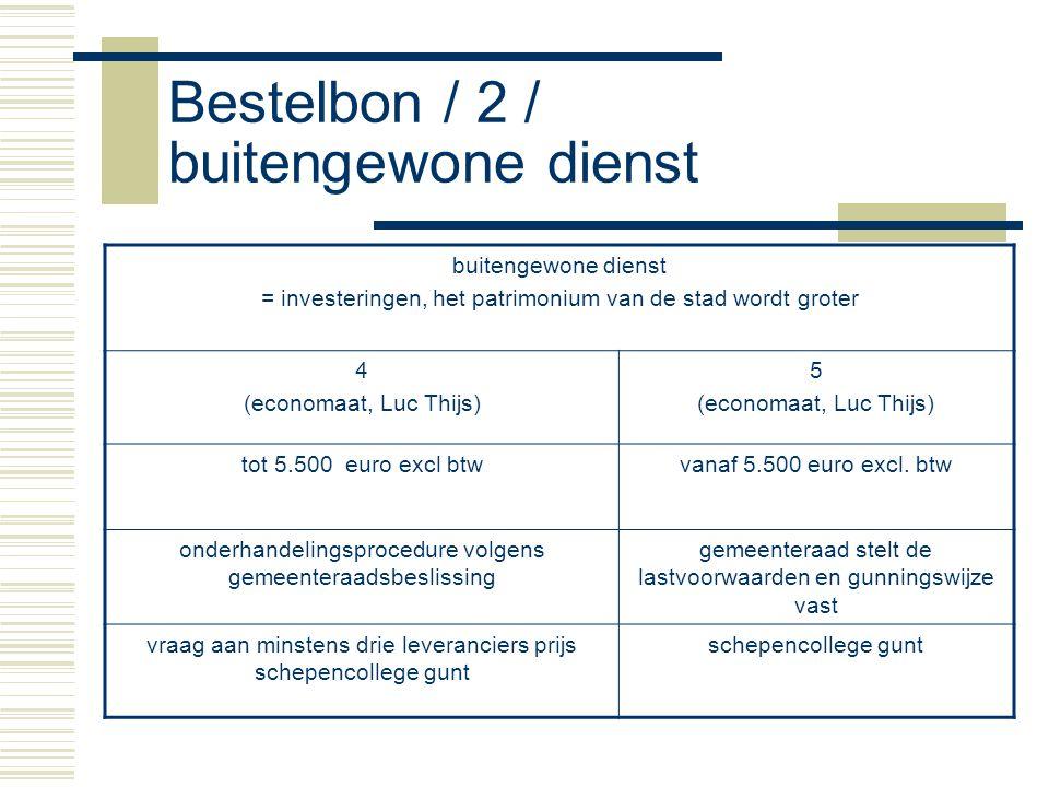Bestelbon / 2 / buitengewone dienst buitengewone dienst = investeringen, het patrimonium van de stad wordt groter 4 (economaat, Luc Thijs) 5 (economaat, Luc Thijs) tot 5.500 euro excl btwvanaf 5.500 euro excl.