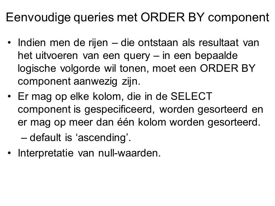 Indien men de rijen – die ontstaan als resultaat van het uitvoeren van een query – in een bepaalde logische volgorde wil tonen, moet een ORDER BY component aanwezig zijn.