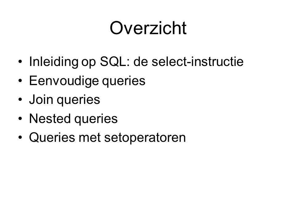 Overzicht Inleiding op SQL: de select-instructie Eenvoudige queries Join queries Nested queries Queries met setoperatoren
