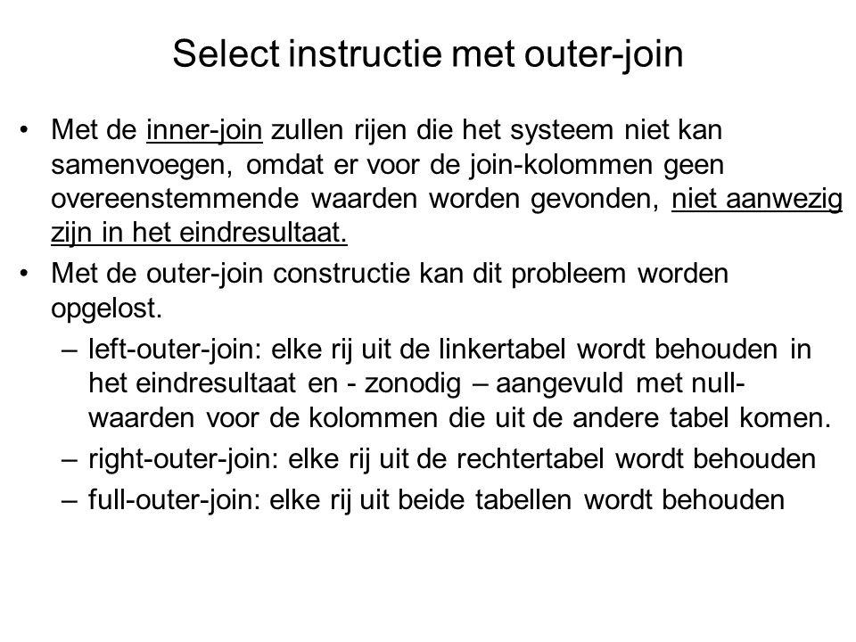 Met de inner-join zullen rijen die het systeem niet kan samenvoegen, omdat er voor de join-kolommen geen overeenstemmende waarden worden gevonden, niet aanwezig zijn in het eindresultaat.