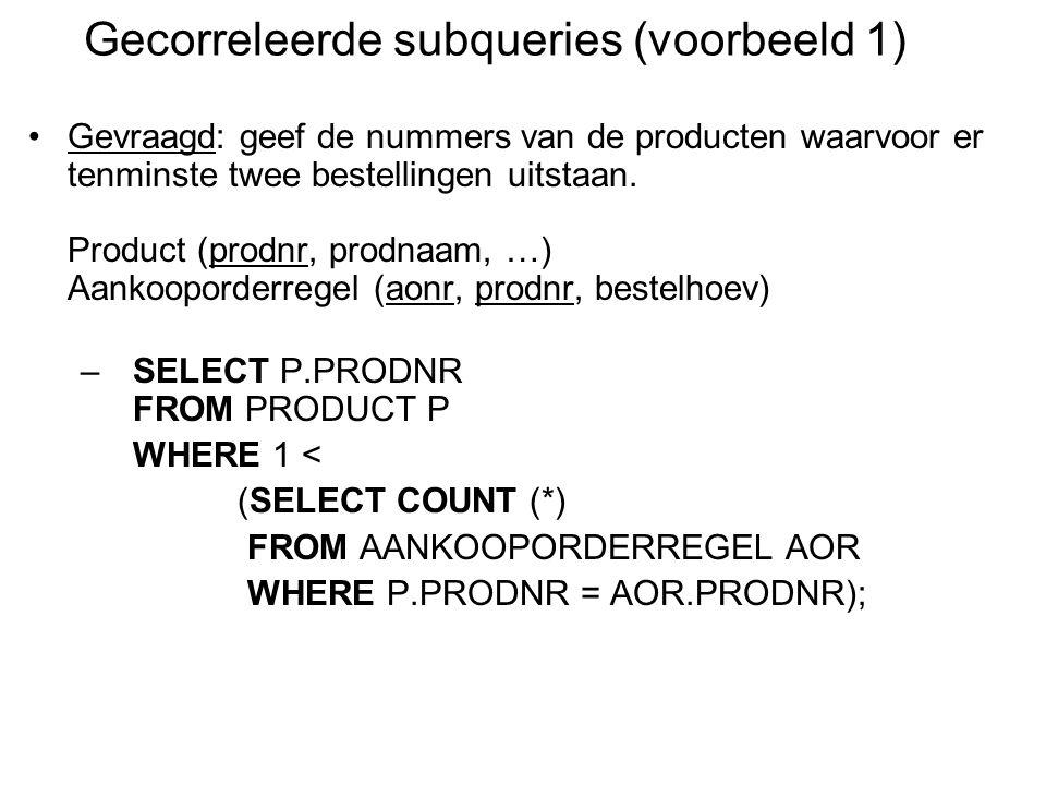 Gevraagd: geef de nummers van de producten waarvoor er tenminste twee bestellingen uitstaan.