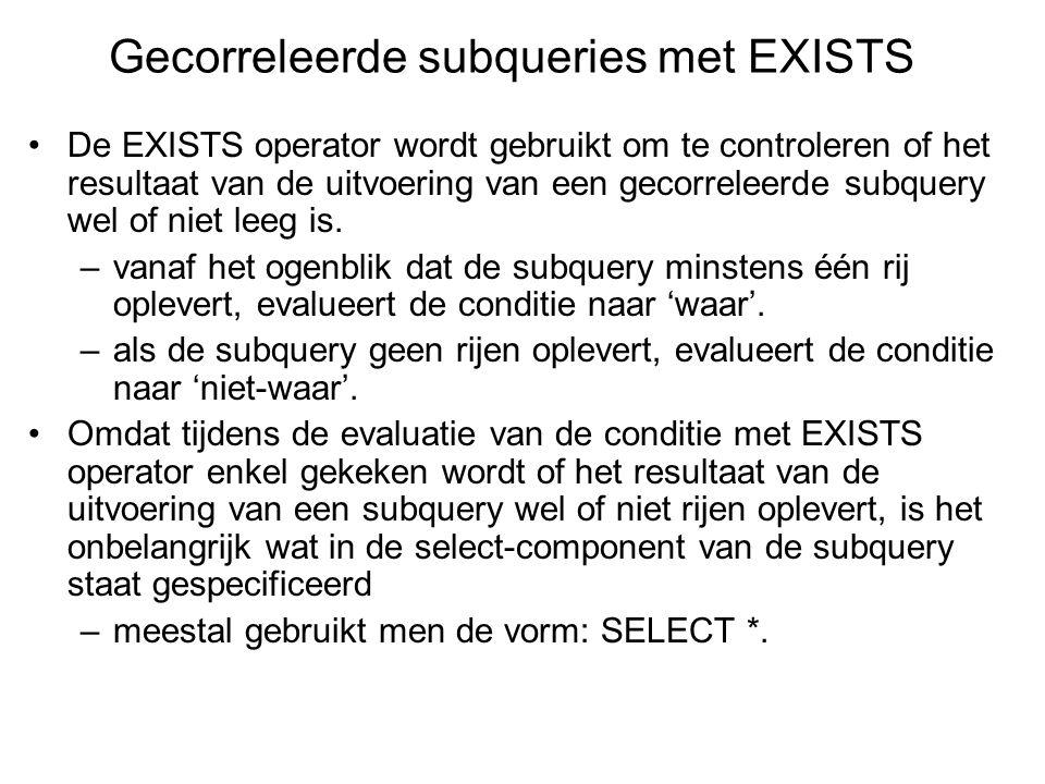 De EXISTS operator wordt gebruikt om te controleren of het resultaat van de uitvoering van een gecorreleerde subquery wel of niet leeg is.
