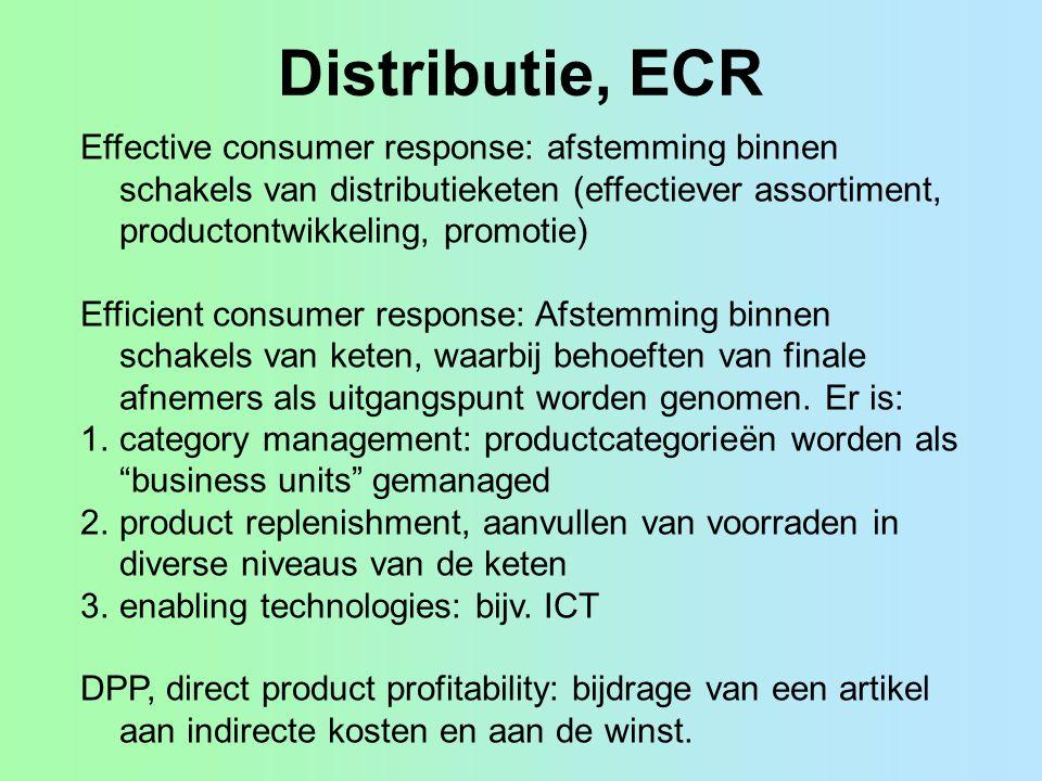 Distributie, ECR Effective consumer response: afstemming binnen schakels van distributieketen (effectiever assortiment, productontwikkeling, promotie)