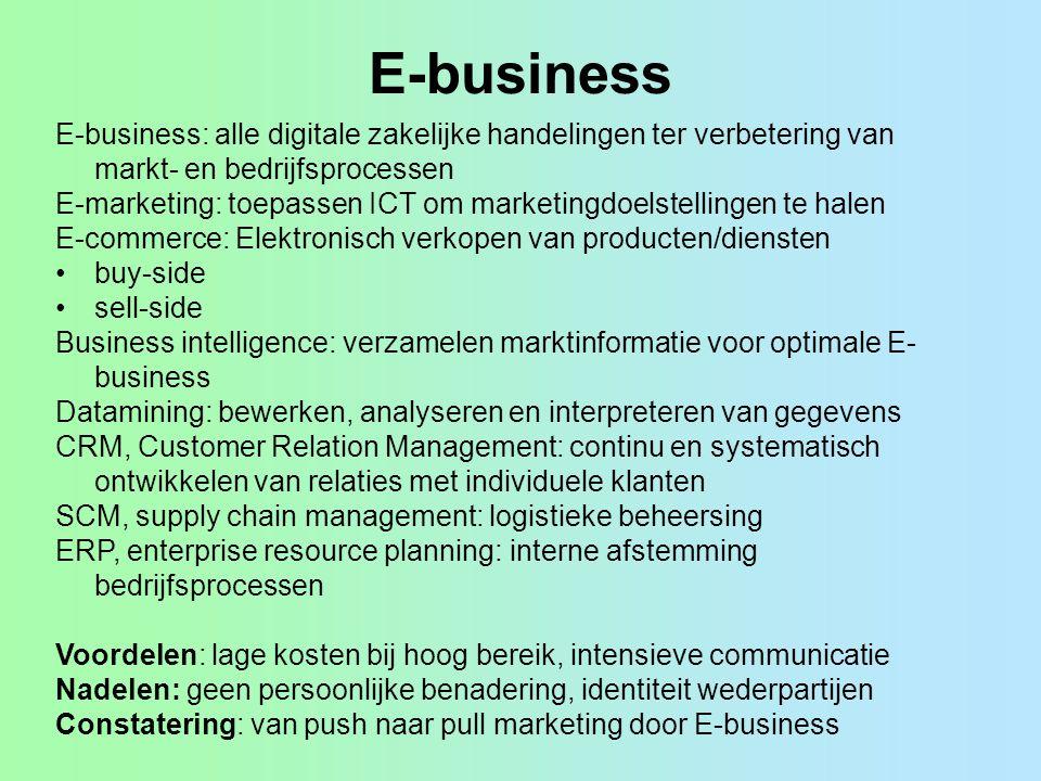 E-business E-business: alle digitale zakelijke handelingen ter verbetering van markt- en bedrijfsprocessen E-marketing: toepassen ICT om marketingdoel