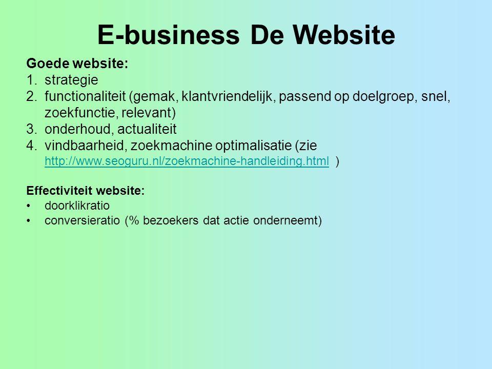 E-business De Website Goede website: 1.strategie 2.functionaliteit (gemak, klantvriendelijk, passend op doelgroep, snel, zoekfunctie, relevant) 3.onde