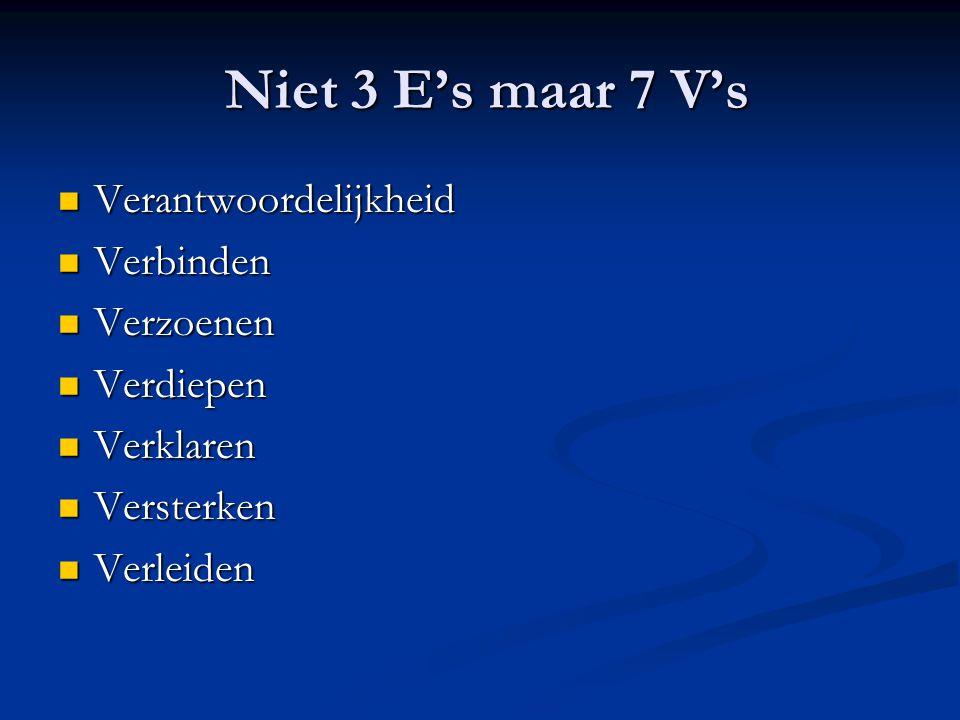 Niet 3 E's maar 7 V's Niet 3 E's maar 7 V's Verantwoordelijkheid Verantwoordelijkheid Verbinden Verbinden Verzoenen Verzoenen Verdiepen Verdiepen Verklaren Verklaren Versterken Versterken Verleiden Verleiden