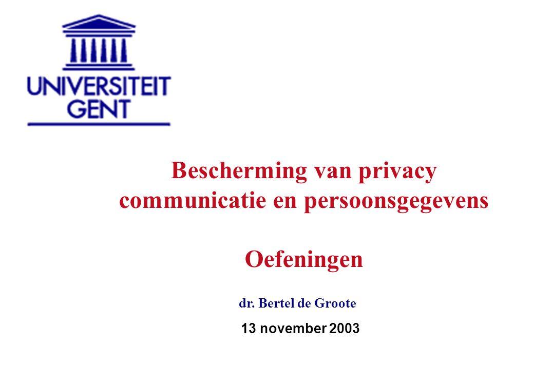 case 1: communicatiebescherming case 2: verwerking persoonsgegevens case 3: privacy - algemeen 3 cases voor te bereiden tegen 13 november 2003 Hoe te werk gaan?