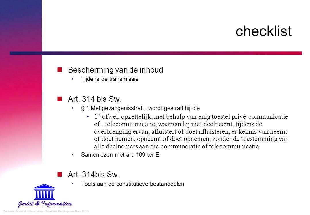 checklist Bescherming van de inhoud Tijdens de transmissie Art.