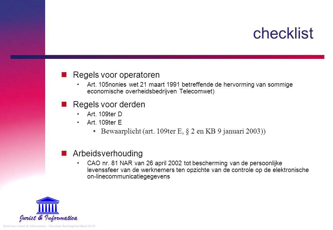 checklist Regels voor operatoren Art.