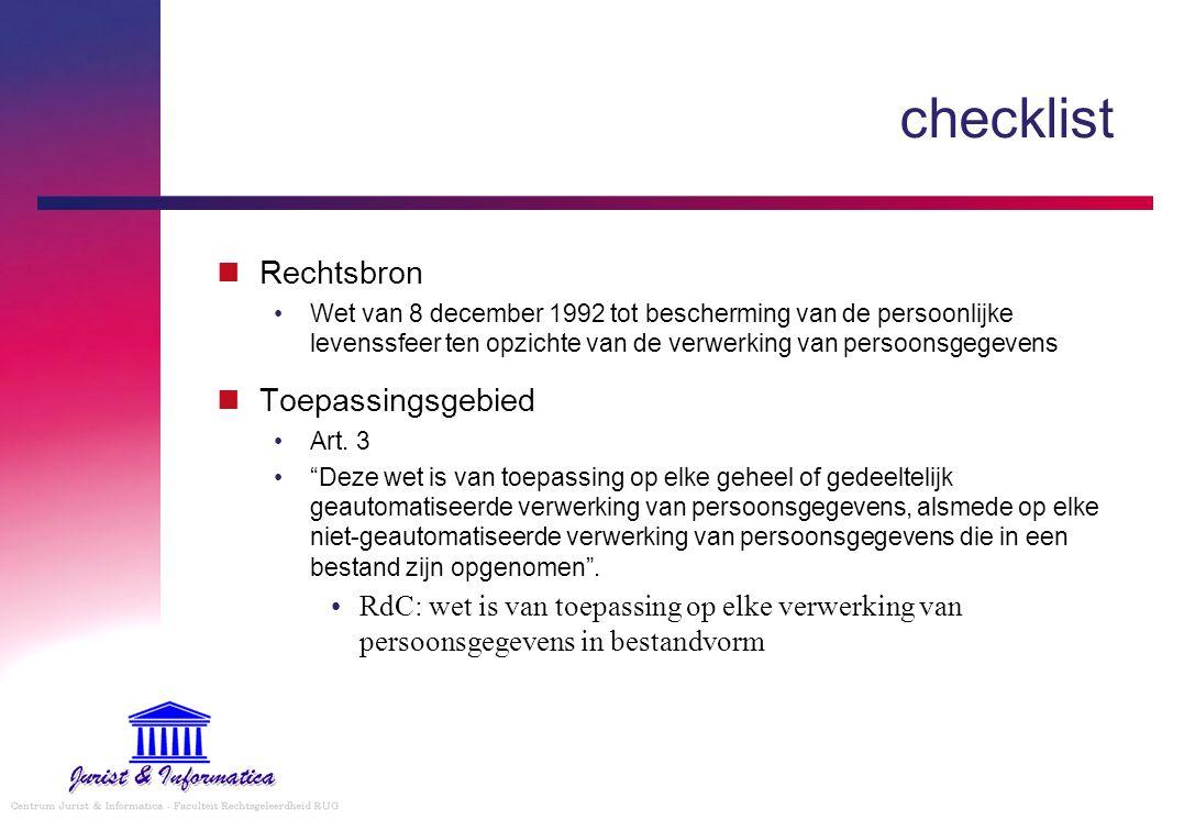 checklist Rechtsbron Wet van 8 december 1992 tot bescherming van de persoonlijke levenssfeer ten opzichte van de verwerking van persoonsgegevens Toepassingsgebied Art.