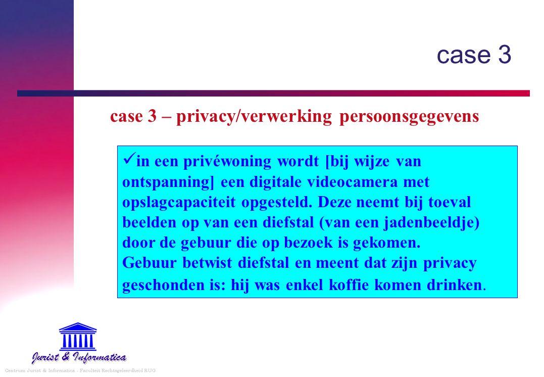 in een privéwoning wordt [bij wijze van ontspanning] een digitale videocamera met opslagcapaciteit opgesteld.