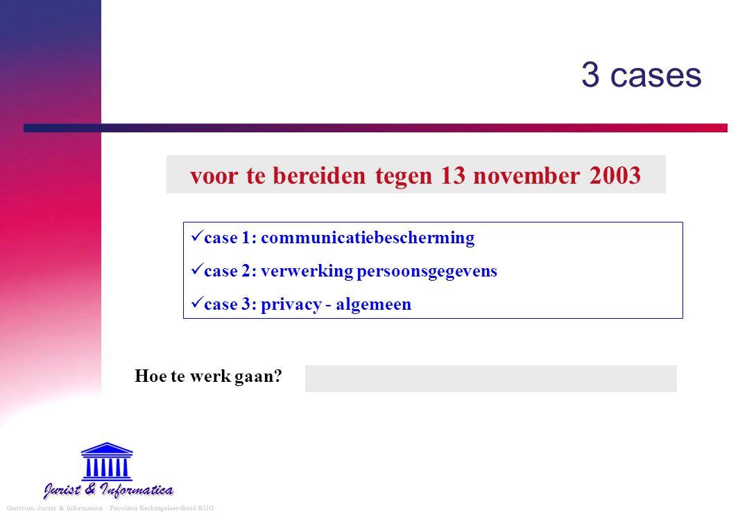 case 1: communicatiebescherming case 2: verwerking persoonsgegevens case 3: privacy - algemeen 3 cases voor te bereiden tegen 13 november 2003 Hoe te werk gaan