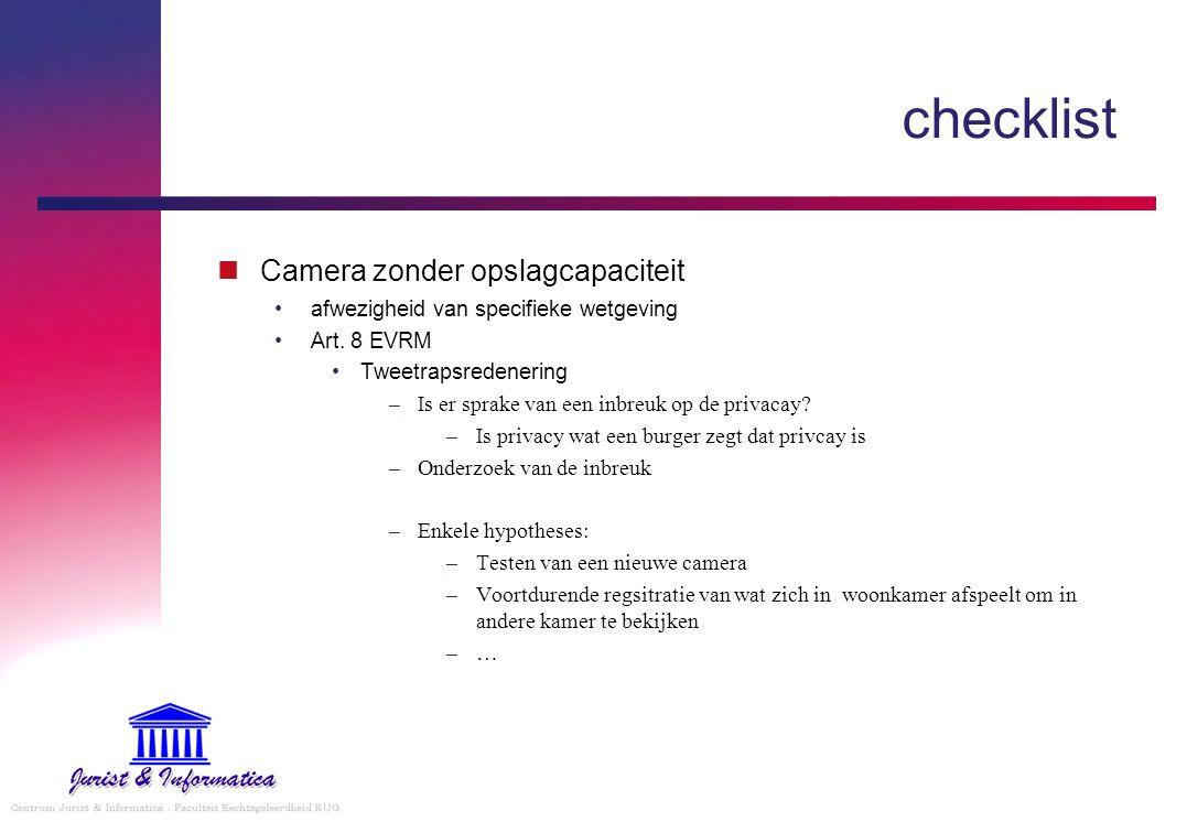 checklist Camera zonder opslagcapaciteit afwezigheid van specifieke wetgeving Art.